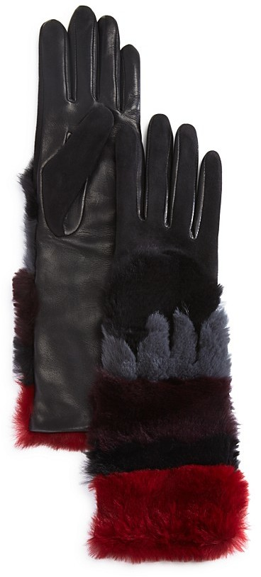 Agnelle Agnelle Leather Gloves with Rabbit Fur Cuff