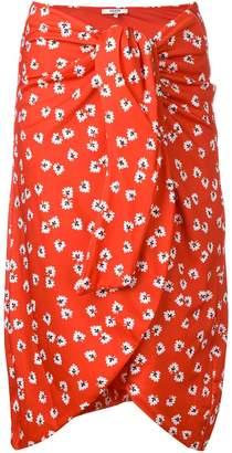 Ganni floral print tie knot skirt