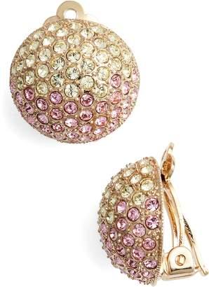 Nina Medium Pave Swarovski Crystal Button Clip Earrings