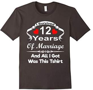 12th Twelve Wedding Anniversary Tshirt Marriage Husband Wife