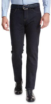 Ermenegildo Zegna Luxe Denim Straight-Leg Jeans, Navy Solid $695 thestylecure.com