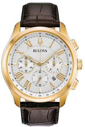 Bulova Wilton Chronograph 97B169 Leather Strap Watch