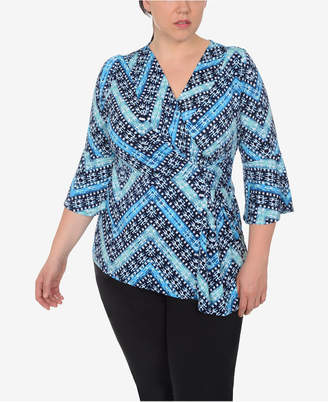 NY Collection Plus Size Bell-Sleeve Draped Top