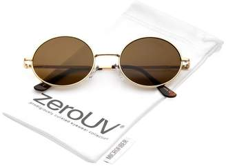 Zerouv Classic Lightweight Slim Arms Neutral Colored Flat Lens Oval Sunglasses 50mm (/Brown)