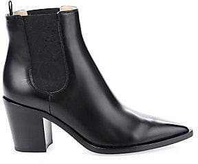 Gianvito Rossi Women's Romney Point-Toe Leather Chelsea Boots