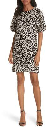 Milly Melinda Leopard Print Silk Jacquard Shift Dress