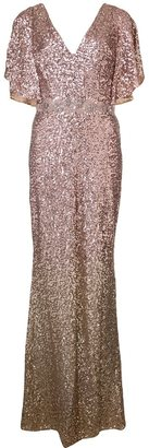 Marchesa Notte sequinned cape-sleeve gown $895 thestylecure.com