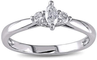 JCPenney MODERN BRIDE 1/4 CT. T.W. Diamond 14K White Gold 3-Stone Marquise Bridal Ring
