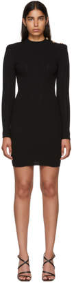 Balmain Black Long Sleeve Wool Dress