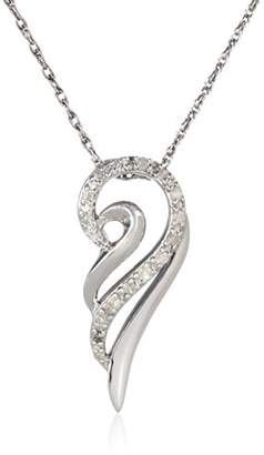 Sterling Silver 1/10 cttw Diamond Angel Wing Pendant Necklace