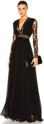 Murad Zuhair Georgette & Lace V Neck Gown