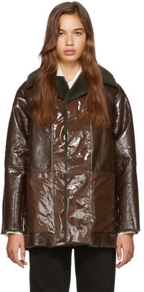 Kassl Editions Reversible Brown Lacquer Sheepskin Coat