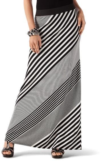 White House Black Market Bias Stripe Maxi Skirt