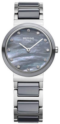 Swarovski BERING Grey Dial Ceramic Stainless Steel and Crystal Element Bracelet Watch