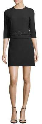Veronica Beard Nora 3/4-Sleeve Belted Crepe Short Dress