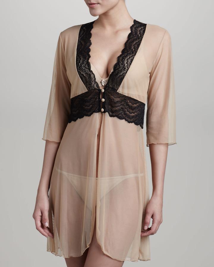 Cosabella Elise Sheer Lace-Trim Robe