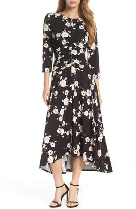 Maggy London Ruched Waist Midi Dress