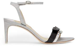 Sophia Webster Andie Bow Trim Glitter Sandals - Womens - Silver