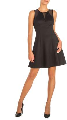 GUESS Embossed Scuba Fit Flare Dress