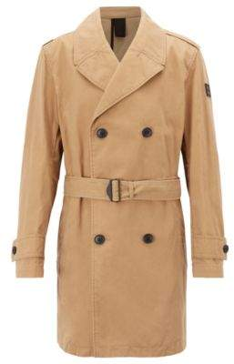 BOSS Hugo Regular-fit trench coat in a waxed cotton 42R Beige