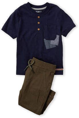 Hudson Infant Boys) Two-Piece Short Sleeve Henley Tee & Joggers Set