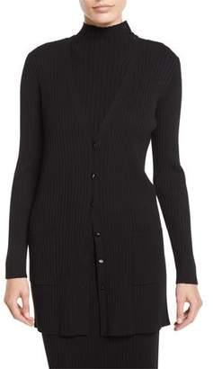 St. John V-Neck Button-Front Flat Rib-Knit Cardigan w/ Patch Pockets