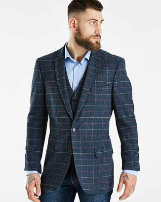 Jacamo Black Label Blue Slim Checked Tweed Blazer Long