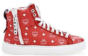 MCM Men's Visetos High-Top Logo Sneakers