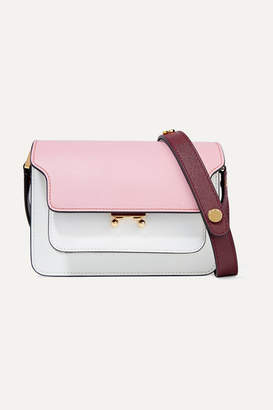 Marni Trunk Small Color-block Textured-leather Shoulder Bag - Baby pink