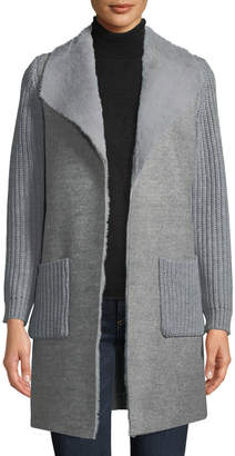 Neiman Marcus Sherpa-Lined Open-Front Cardigan with Contrast Knit