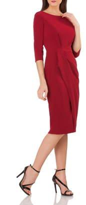 329667f5c7d JS Collections Pleated Crepe Sheath Dress