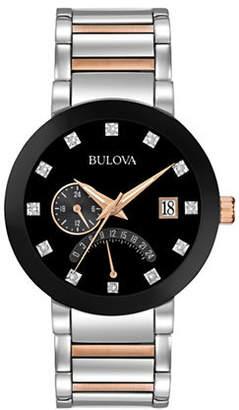 Bulova Analog Multifunction Diamond Detailed Stainless Steel and Goldtone Watch