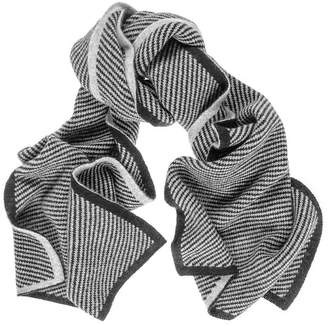 Black Two Tone Grey Diagonal Stripe Cashmere Scarf