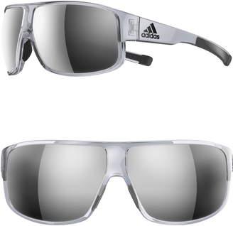 adidas Horizor 67mm Mirrored Wraparound Sport Sunglasses