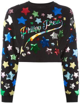 sequin star embroidered sweatshirt