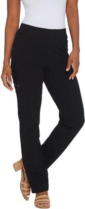 Denim & Co. Regular Comfy Knit Straight Leg Jeans with Cargo Pocket