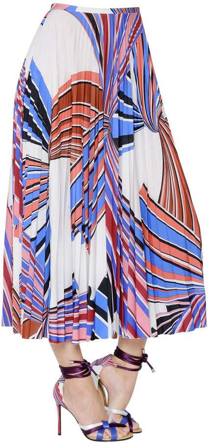 Printed Pleated Jersey Skirt