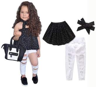 EGELEXY Baby Girls Off Shoulder Polka Dot Top Hole Denim Pants with Headband Set Size