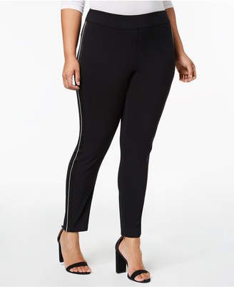 INC International Concepts I.n.c. Plus Size Satin-Stripe Skinny Pants, Created for Macy's