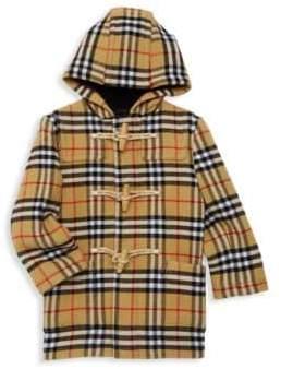Burberry Baby Boy's& Little Boy's Brogan Check Hooded Wool Jacket