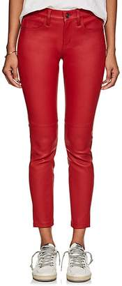 Current/Elliott Women's The Mid-Rise Stiletto Leather Skinny Jeans - Red