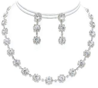 Ice Crystal Tennis Necklace Set Silver Bridesmaid Jewelry Boxed (BoxN2)