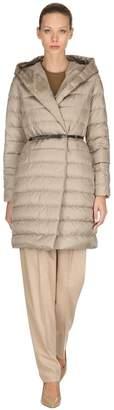 Hooded Shiny Nylon Down Coat