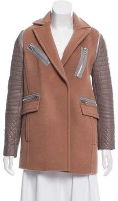 Rebecca Taylor Leather-Trimmed Wool Coat
