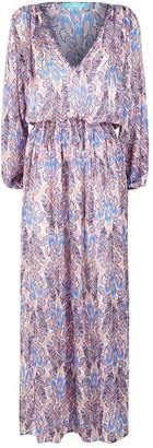 Melissa Odabash Alison Feather Print Maxi Dress