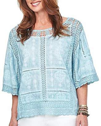 Democracy Women's Mineral Wash Crochet Top with Kimono Sleeve