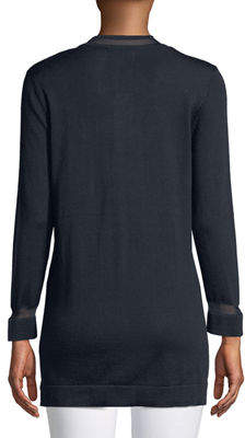 Joan Vass Bracelet-Sleeve Open-Front Cardigan
