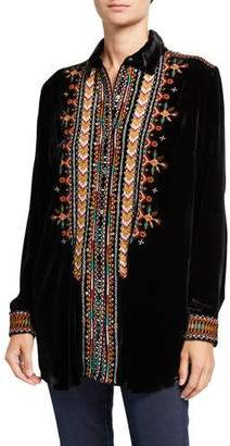 Johnny Was Chiri Embroidered Button-Front Velvet Shirt Tunic