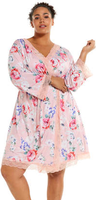 Peter Alexander P.A. Plus Peach Floral Slinky Gown