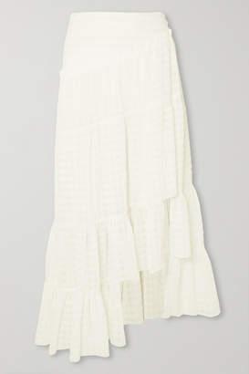 3.1 Phillip Lim Asymmetric Tiered Seersucker Skirt - White